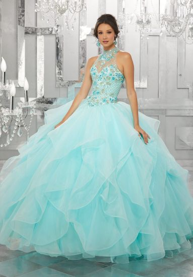 26491be648f Blue Pink Coral Ball Gowns Beaded Embroidery Quinceanera Dresses Z89149