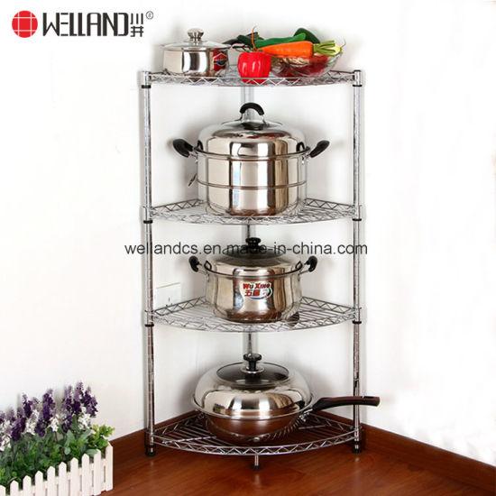 Superbe Corner Fanshaped Wire Shelf Chrome Kitchen Pan Stand Pot Saucepan Storage  Rack Holder