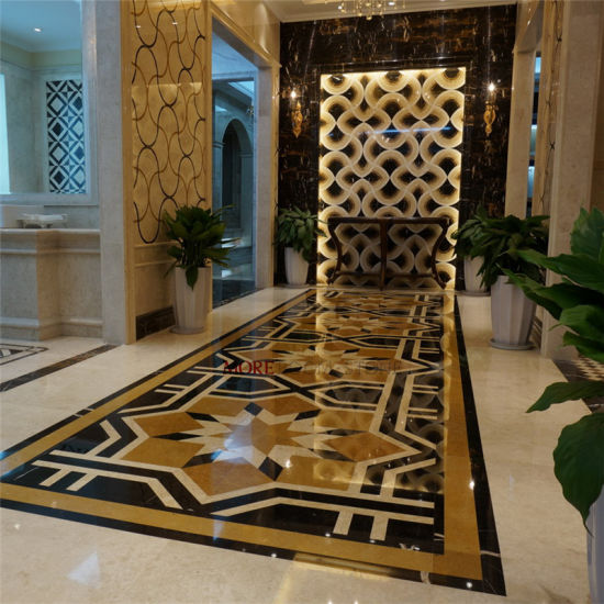 Natural Marble Design Water Jet Flower Pattern Marble Inlay China