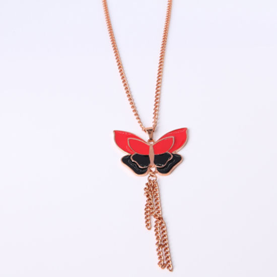 Factory Supply Fashion Jewelry Red Black Butterfly Gold Necklace pictures & photos