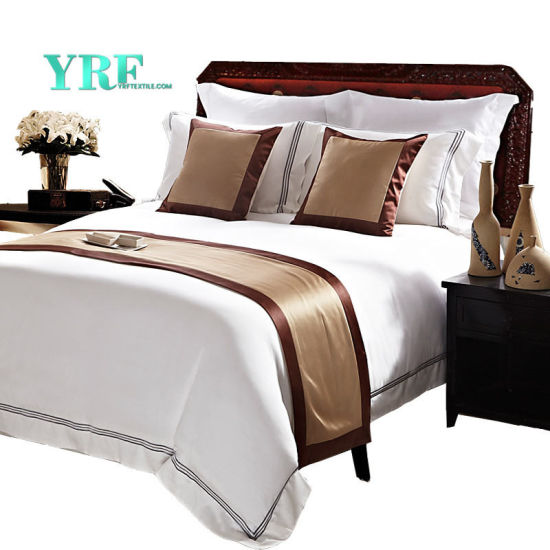 Yrf Customized 100% Cotton Bedding King Size Luxury White Hotel Bedding Set
