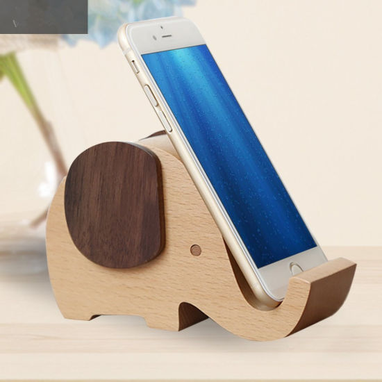 Cell Phone Stand Wood Made Elephant Phone Stand For Smartphone With Pen Holder Desk Organizer