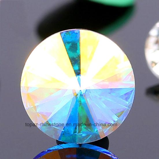 Fancy Rivoli Shape Point Back Crystal Glass Rhinestone for Garment (Crystal Ab Effects)