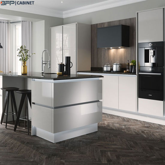 Grey Color Painted Kitchen Furniture