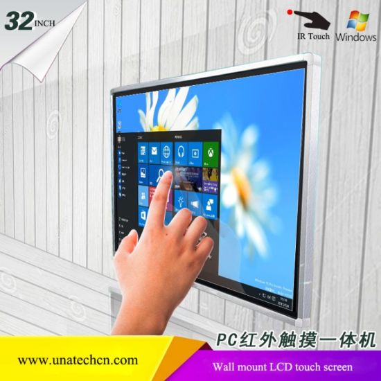 Wall Mounted HD 32/42/43/49/50/55inch LCD Media Digital Display PC Windows System IR Touch Screen