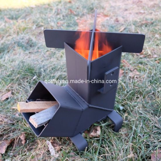 Camping Rocket Stove with Handle From OEM Metal Fabrication Factory