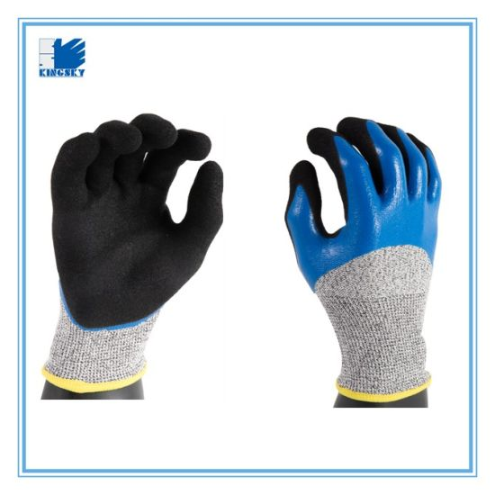 13G Hppe Liner Sandy Finish Nitrile Palm Smooth Finish Nitrile Back Anti Slip Work Glove-5049 pictures & photos