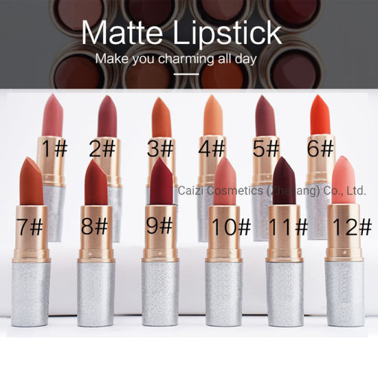 12 Color Cosmetics High Quality Makeup Customized Glitter Matte Lipstick