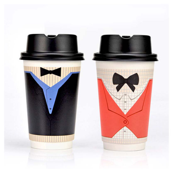 High Quality Disposable Waterproof Printed Double Wall Paper Cups 12oz