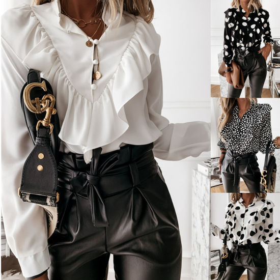 Fashion Woman Ruffled White Blouse Casual DOT Print V-Neck Pullover Button Shirt