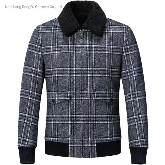 Jacket Men's Trend Fashion Casual Check Lapel Wool Coat