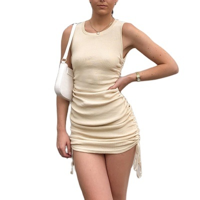 Women Lace up Ruched Sleeveless Sundress Knitted Rib Party Club Streetwear Casual Dress