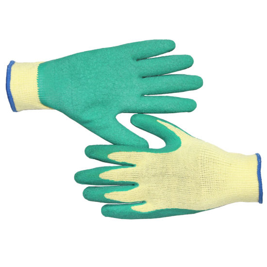 10 Gauge Safety Work Hand Gloves with Yellow Cotton Shell and Green Latex Coating Crinkle Finish