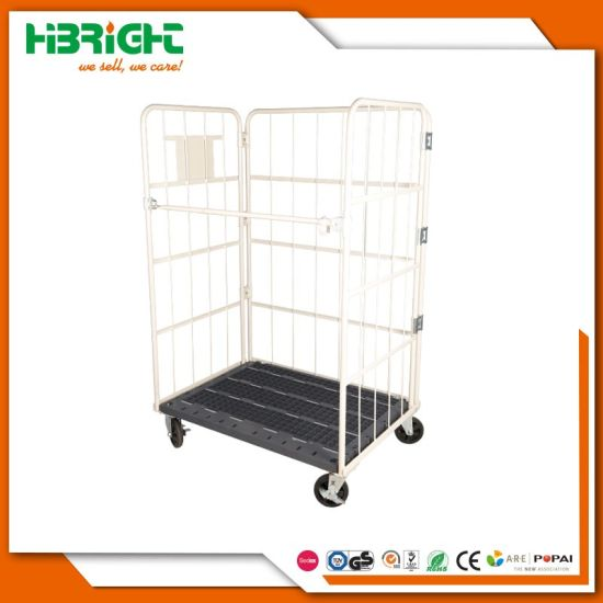 Plastic Base 3 Side Wire Mesh Roll Cage on Wheels pictures & photos