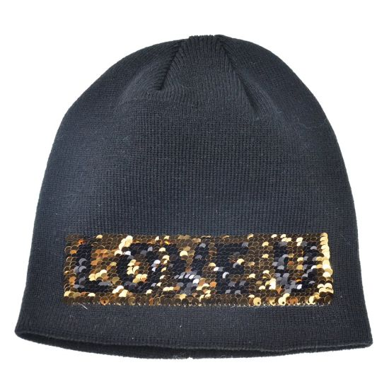 Custom High Quality Winter Knitted Hat Acrylic Hat with Reversible Letter Sequins (HY18101807A) (HY18101808A) pictures & photos