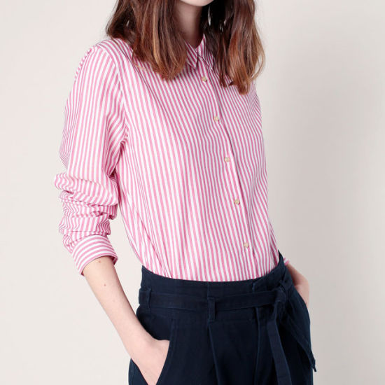 e6b179b7d4b798 China Newest Design Cotton Women Lady Blouse Tops Red Pink Striped ...