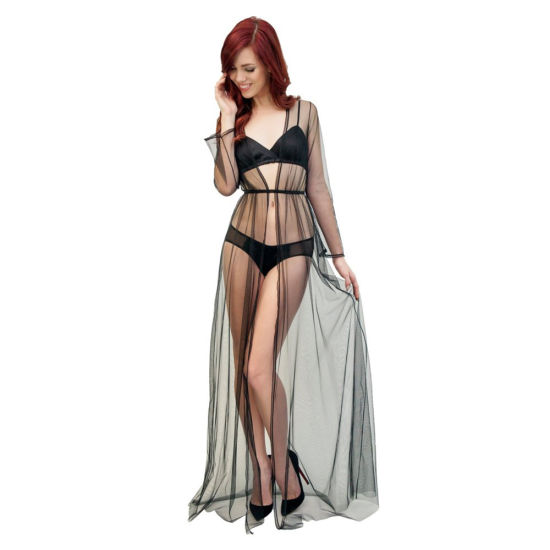 640a2d5334 Women Sheer See-Through Floor Length Lace Edge Black Mesh Sexy Night Robe