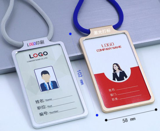 Aluminum Alloy Working ID Card Badge Holder with Round Cord Lanyard