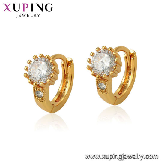 03dc9d9218e3b1 Hoop Shaped Unique Latest Design 18K Gold Wholesale Cheap Zircon Earrings  Jewelry pictures & photos
