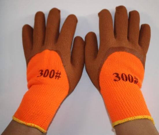 Free Sample 7g Orange Loop Acrylic Fiber Knitted Liner Latex Foam Palm Coated Gloves