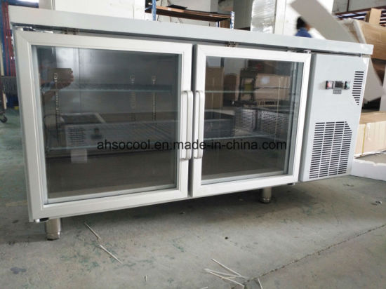 China Two Glass Door Industrial Refrigerator Stainless Steel Prep