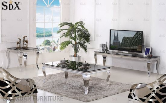 Simple Glass Top Coffee Tables Stainless Steel Coffee Tables Living Room  Tables for Sale