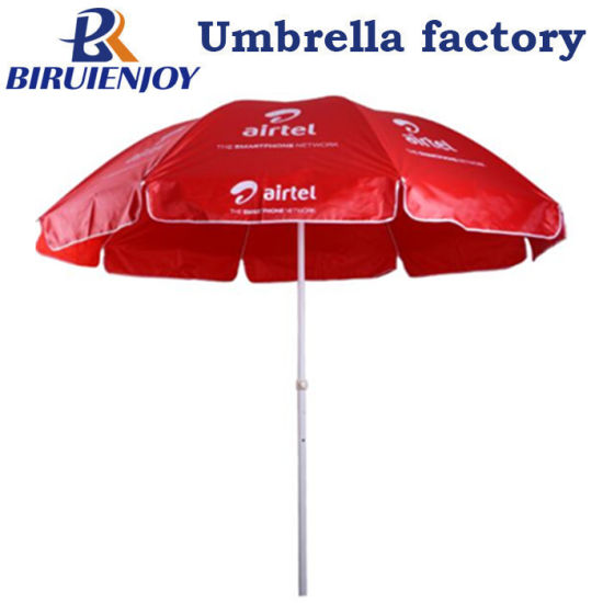 China Cheap Promotional Beach Umbrella Red Oxford with Logo Airtel 180cm