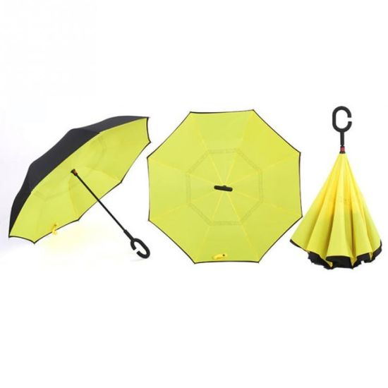C-Hook Hands Windproof Reverse Folding Double Layer Inverted Umbrella Self Stand Inside out Rain Protection Umbrella pictures & photos