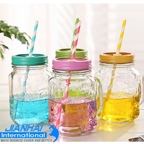 Wholesale Drinking Glass Mason Jar with Handle pictures & photos