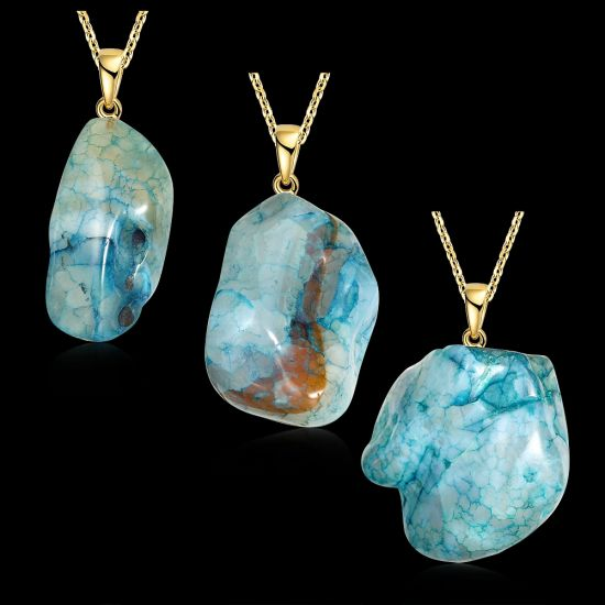 Beautiful Irregular Natural Agate Stone Pendant Necklace Gold Plated Jewelry pictures & photos