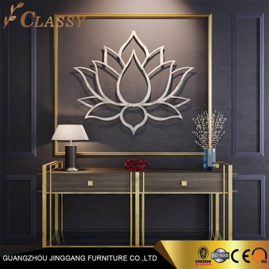 Large Brushed Flower Metal Wall Art Home Decoration Stainless Steel Crafts