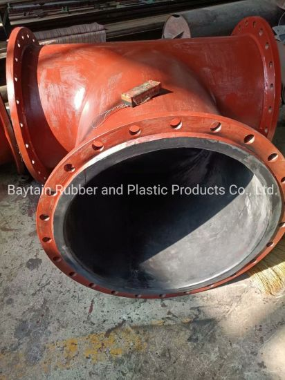 T Junction for Rubber Lined Steel Pipe Dredging Dredge Floating Sand Mud Oil Water Mining Drilling Chemical Acid-Base Industrial Hydraulic Rubber Suction