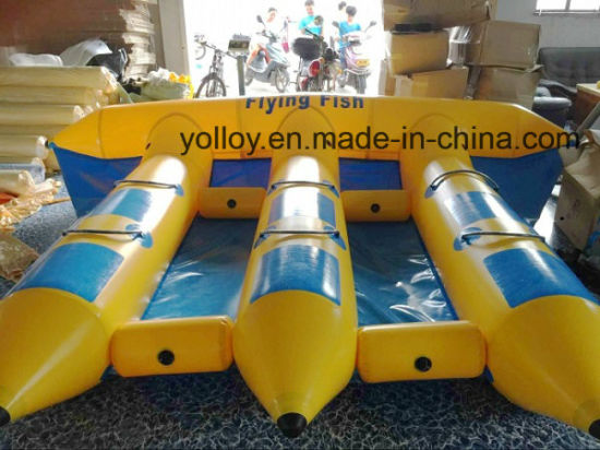 PVC Tarpaulin Inflatable Flying Fish Tube / Inflatable Water Games Flying Banana Boat for Sea pictures & photos