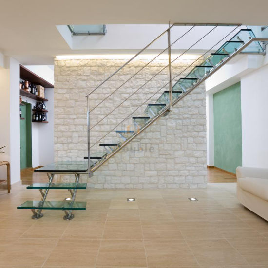 Small Space Stairs Stainless Steel Handrail/Railing Glass Steps Staircase