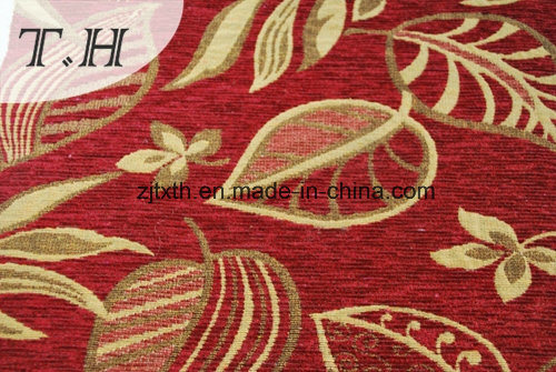 2016 100% Polyester Red Cloth Gold Leaves Chenille Jacquard Sofa Cloth pictures & photos