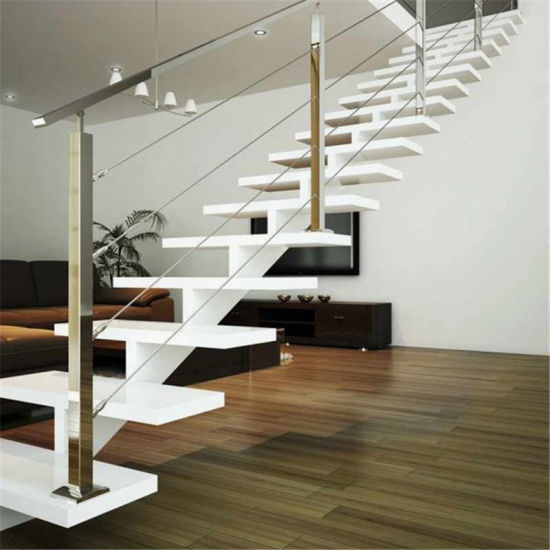 Bon New Design Indoor Straight Staircase With Solid Wood Stair Tread