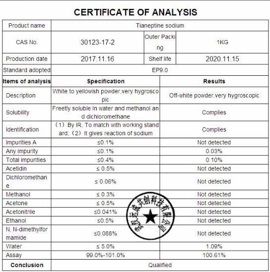China Legal Chemical Nootropic Powder Tianeptine Sodium for
