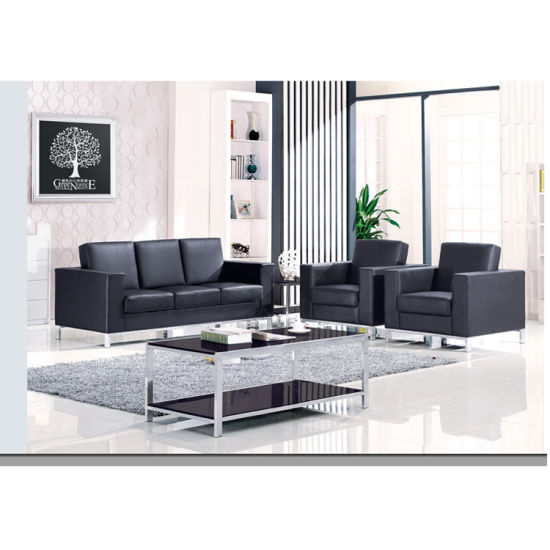 China Top Leather Office Sofa With Stainless Steel Feet For 1 2