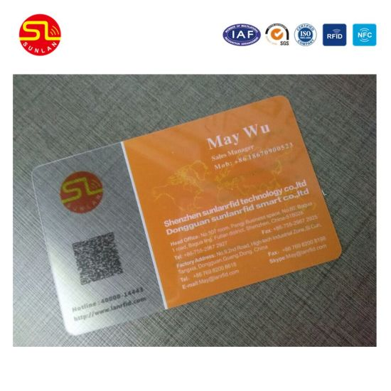 China both side printing pvc plastic transparent business cardnfc both side printing pvc plastic transparent business cardnfc business card bar code qr code and magnetic stripe cards with nice price reheart Images
