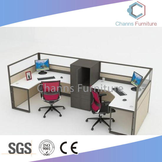 Fashion Metal Frame L Shape Office Table Wood Workstation With Glass Top Cas W31428