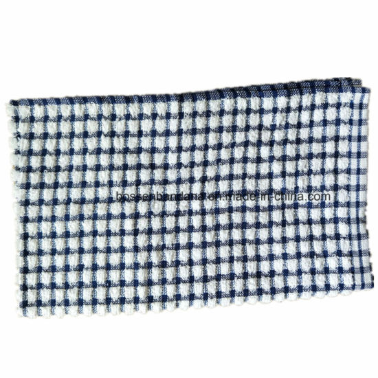 China Oem Produce Custom Blue Checks Jacquard Cotton Terry