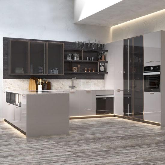 China Grey Modern Design Lacquer Kitchen Cabinet With Glass Door China Modern Kitchen Design Modern Kitchen
