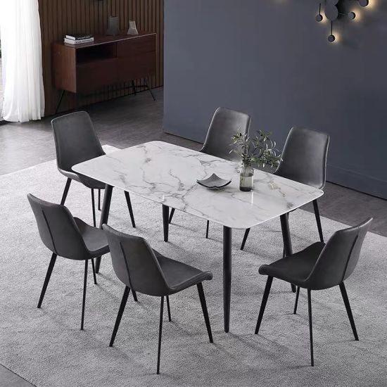 Simple Modern Solid Wood Table Leg Marble Top Dining Table