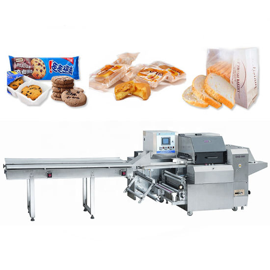 Automatic Mask/Tray/Glove/Bread/Cake/Burgers/Bun/Rusk/Chocolate Bar/Candy/Food /Bun/Vegetable Pouch Bag Packaging Flow /Horizontal Packing Wrapping Machine