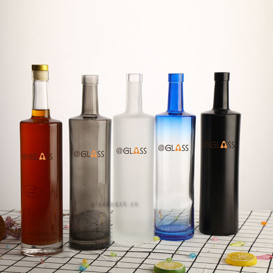 750ml Clear Cylinder Blue Color Painted Glass Liquor Whisky Bottles with Long Neck