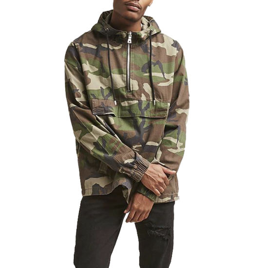 Men's Camouflage Print Drawstring Hooded Jacket OEM Service Custom Camo Pattern Cotton Material Long Sleeve Jacket for Mens Casual Street Wear Jacket