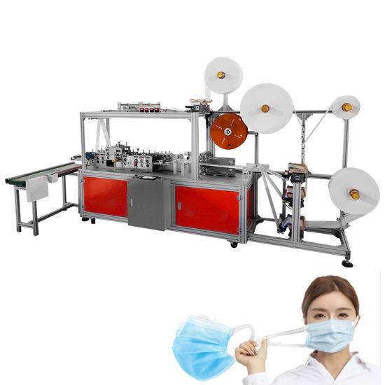 Full Automatic High Speed Elastic Ear Band 3 Ply Flat Mask Positioning Mask Making Machine