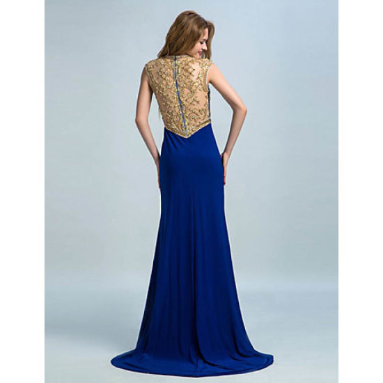 Trumpet Mermaid Jewel Sweep Brush Train Jersey with Beading Evening Dress pictures & photos