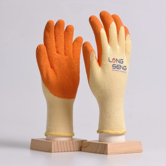 Wholesale 10 Gauge 5 Yarn 21 Polycotton Cotton Liner Crinkle Wrinkle Latex Rubber Coated Hand Safety Protection Work Gloves with En388 61161000 Black Red Orange