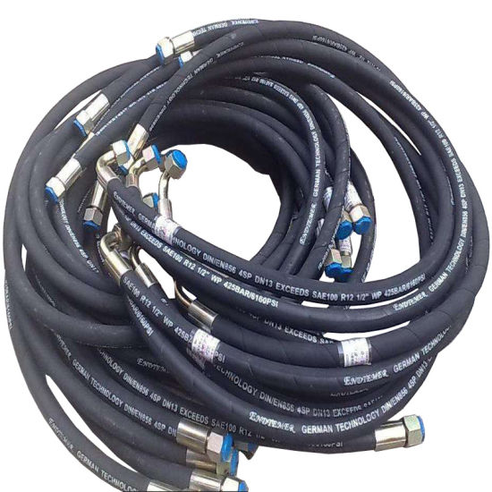 Ultra High Pressure Flexible Hydraulic Rubber Hoses with Fitting for Gasoline R1 R2
